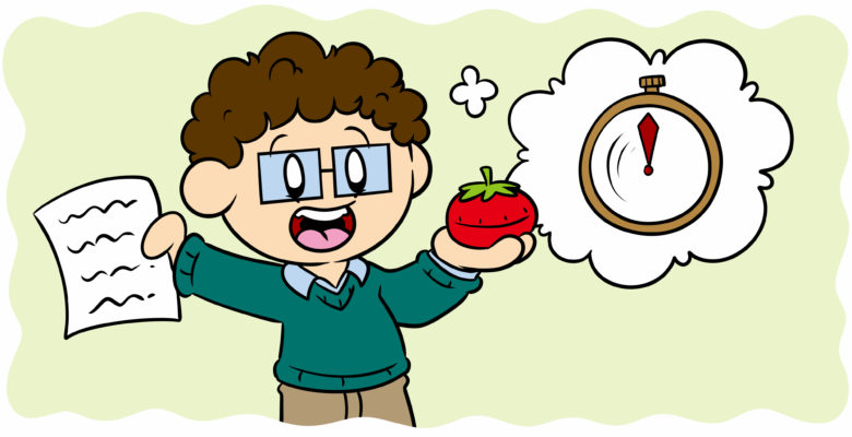Can The Pomodoro Technique Help Your Writing? - An author holds up a tomato-shaped timer.
