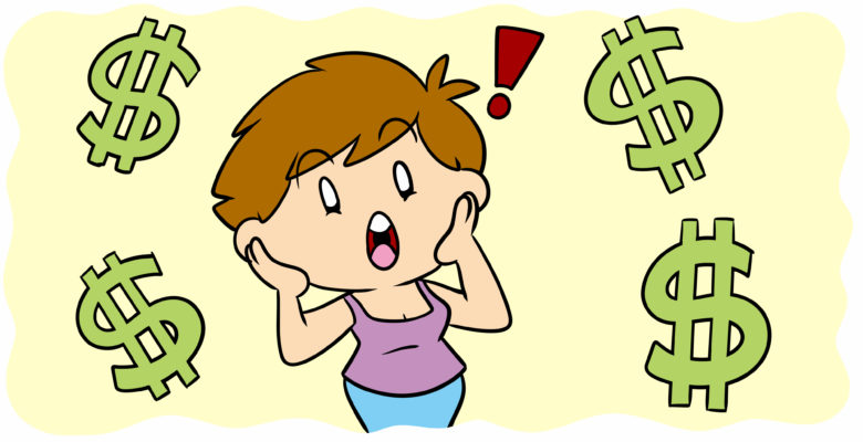 What You Need To Know About The Costs Of Self-Publishing Your Book - An author reacts in shock to floating dollar signs.