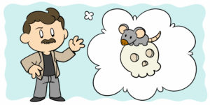 5 Ways John Steinbeck Can Help You Improve Your Writing - Steinbeck stands by a thought bubble, in which a mouse sits on a skull.
