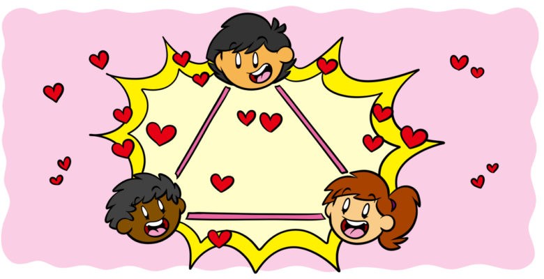 What You Need To Know About Writing A Great Love Triangle - A love triangle in which three character heads gaze at each other lovingly.