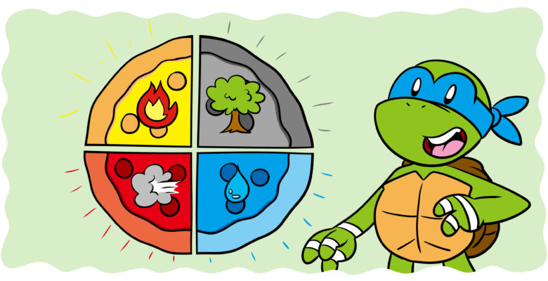 How Blood, Phlegm, and Bile Can Produce Compelling Characters - A Ninja Turtle stands by a pizza depicting the four elements.