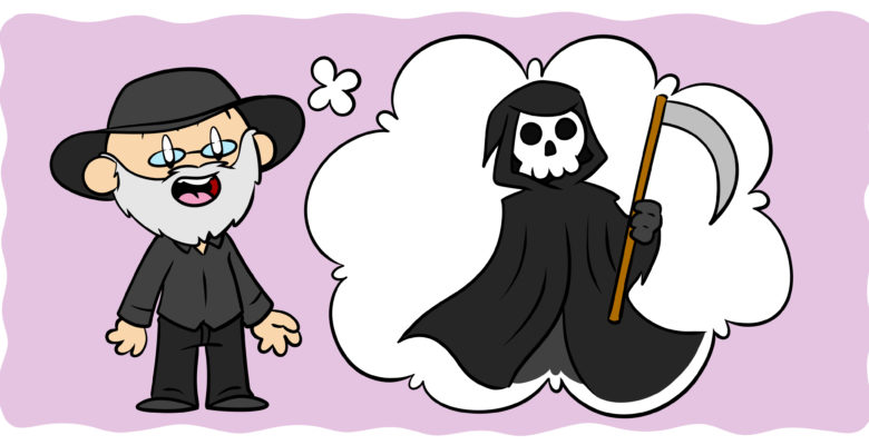 6 Ways Terry Pratchett Can Help You Improve Your Writing - Terry Pratchett grins at the reader, imagining the grim reaper.