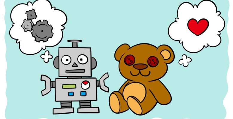Are You Writing For Systematic Or Empathetic Readers? - A teddy and a robot sit side by side.