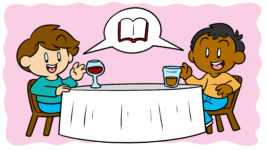 9 Places To Meet Other Authors (And How To Connect Once You Do) - Two authors sit at a dinner table, discussing literature.
