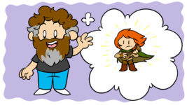4 Ways Patrick Rothfuss Can Help You Improve Your Writing - Patrick Rothfuss waves at the reader, imagining a red-headed hero.