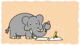 Are You An Elephant Writer Or A Termite Writer? - An elephant and a termite both hold pencils, ready to write.