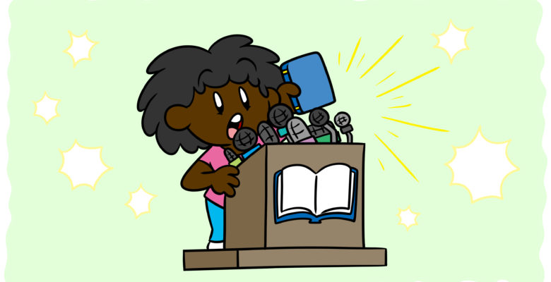 How To Get Press Coverage For Your Book In 5 Simple Steps - An author stands at a podium, cameras flashing in the background.