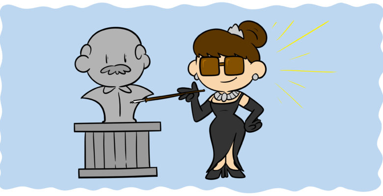 How You Can Overcome The Tiffany Problem In Your Writing - Holly Golightly stands next to a gray statue.