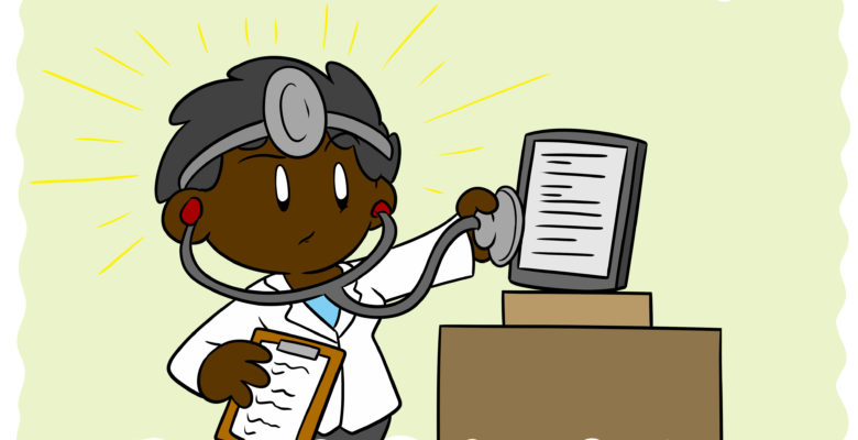 Escape Bad Writing Advice By Acting Like A Doctor - A doctor holds a stethoscope up to an e-reader.