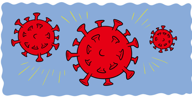 What You Need To Know About Writing During A Pandemic - A red virus floats past the screen.